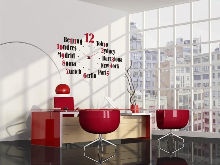 Vinilo para reloj de pared cities for Vinilos pared modernos