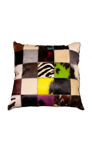 BULL HAIR LEATHER MULTICOLORED CUSHION